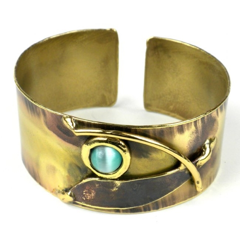 Blade & Aqua Brass Cuff Bracelet with Tiger Eye Stone